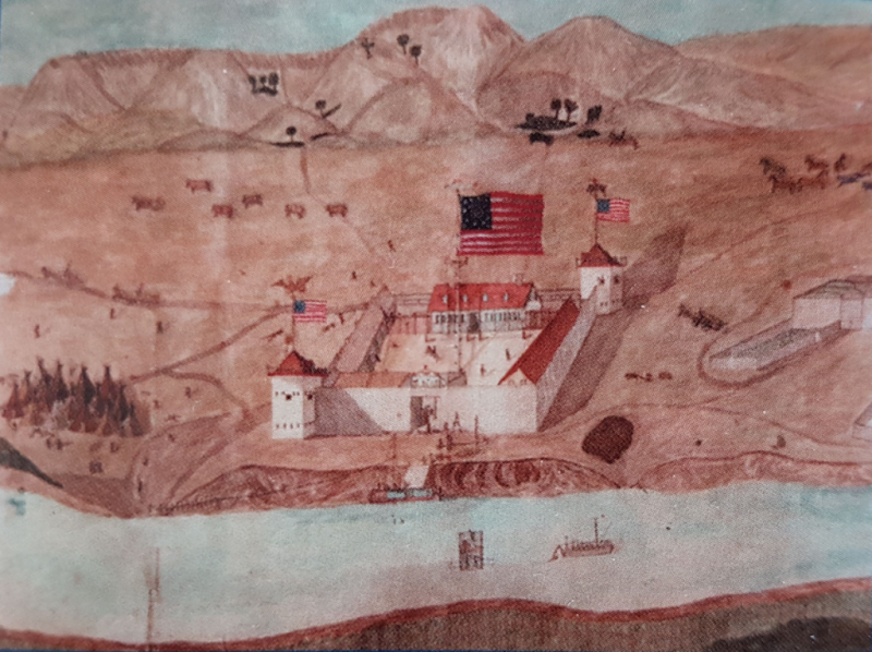 Painting of Fort Union by J.B. Moncravie