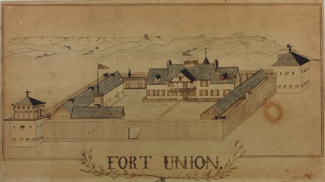 1865 drawing of Fort Union showing the expanded bourgeois house