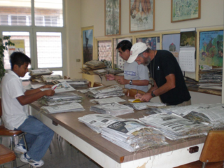 S.G. Goméz, J. Valdes-Reyna and P.M. Peterson sorting collections in the Universidad Autónoma Agraria Antonio Narro Herbarium, September 2007. A set of all the collections from northeastern Mexico are deposited in this herbarium (ANSM). (photo by Jeffery M. Saarela)