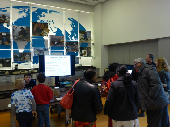 Guests gather around to learn about invasive crustaceans in the Q?rius Lab