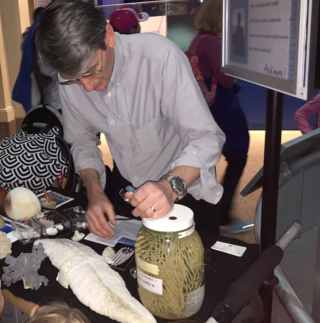 Dr. Steve Cairns shares his vast knowledge of coral biology with visitors to the Sant Ocean Hall.