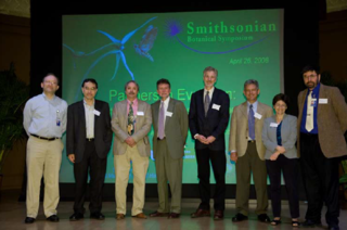 Hans-Dieter Sues, Associate Director for Research and Collections, and Warren L. Wagner, Chair of Botany, with the speakers of the 2008 Smithsonian Botanical Symposium.  Left to Right: Hans-Dieter Sues, Ted Schulz, Warren L. Wagner, W. John Kress, John N. Thompson, Scott Hodges, Judith L. Bronstein, and Conrad Labandeira.  Missing Olle Pellmyr. (Photo by Donald Hurlbert)