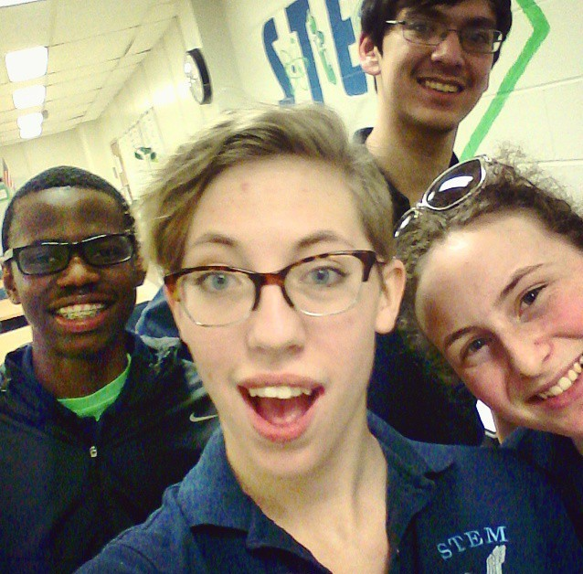 My fellow STEM ambassadors and I on STEM information night at South River High School (from left to right: Julian Richards, Zoe Grabenstetter (me), Drake Sockett, and Hannah Hall)