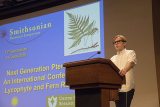 Eric Schuettpelz, NMNH Curator of Ferns, presenting opening remarks at the International Conference on Lycophyte & Fern Research. (photo by Ken Wurdack)