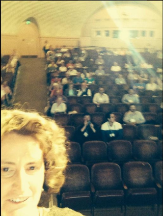 Kathleen Pryer, Duke University, who spoke about science communication, posted a selfie of herself with the audience on Twitter during her presentation. (photo by Kathleen Pryer)