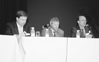 The Symposium panel (including, from left, Cristian Samper K., Gerald Bills, and Brian Boom).  (Photo by Leslie Brothers)