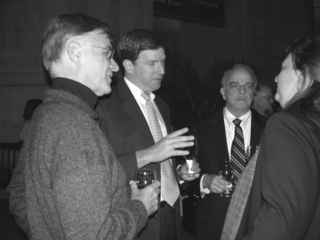 From left, Terry Erwin, Cristian Samper K., Ira Rubinoff, and Anna Weitzman having a discussion during the opening reception. (Photo by Deborah Bell)