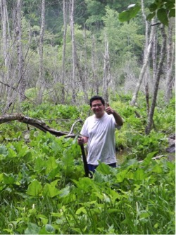 Ricardo Salas Montiel knee-deep in a swamp in southern Maryland looking for the North American Medicinal Leech, Macrobdella decora