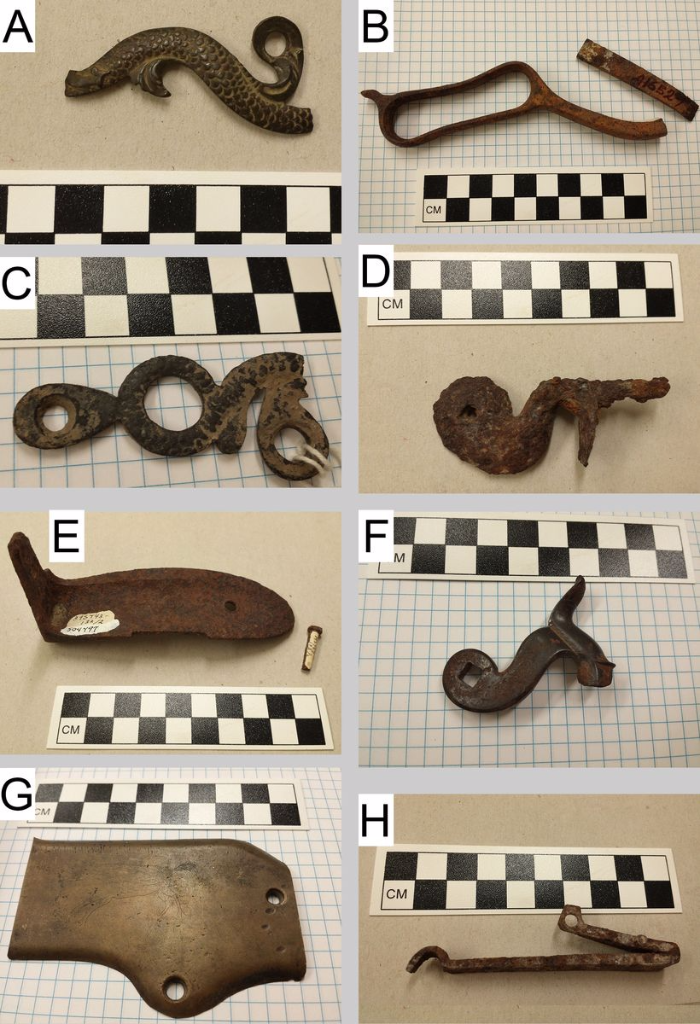 Assorted gun parts from archaeological sites in North and South Dakota