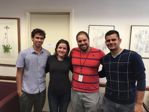 "The ""Reflora"" students (from left):  Tiago Silva, Valéria Sampaio, Marco Pellegrini, and Herison Medeiros. (photo by Ingrid Lin)"