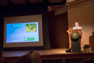 Smithsonian's Department of Botany Chair Laurence Dorr welcomes attendees to the 14th Smithsonian Botanical Symposium (photo by Ken Wurdack)
