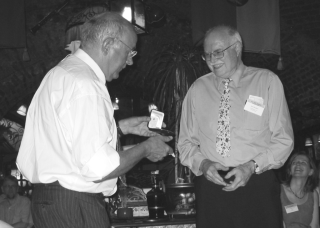 Nicolson receives the Stafleu Medal from Pieter Baas during the 17th International Botanical Congress in Vienna, Austria, in 2005.