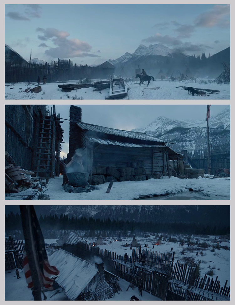 Figure 3: Stills from The Revenant, showing the movie version of Fort Kiowa. Image source: Twentieth Century Fox.