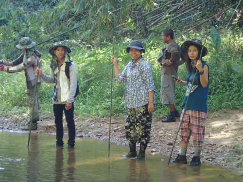 People from Myeik University surveying a stream