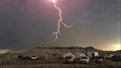 A bolt of lightning viewed from camp.
