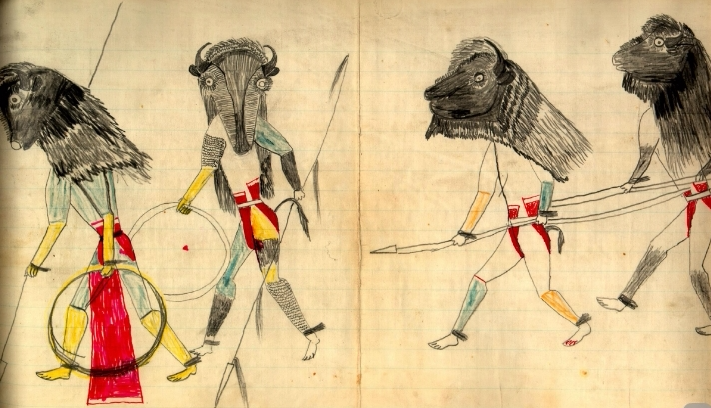 Bison Dance, Black Hawk Ledger, p. 44. Sans Arc (Itázipčho) Lakota. 1881.