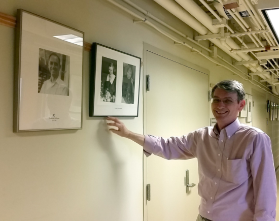 First ones first….Dr. Ted Bayer's portrait was hung outside Dr. Stephen Cairns' office.  (Dr. Cairns was a student of Dr. Bayer.)