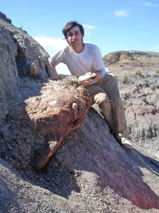 The author leans on the side of a steep hill behind the skull of a Triceratops.  He holds one of the white horns which protrudes from the rust-colored rock.