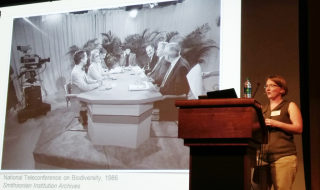 Megan Raby (University of Texas at Austin) opening her talk with a look back at the 1986 National Teleconference on Biodiversity. (photo by Gary Krupnick)