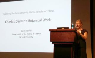 Janet Browne (Harvard University) speaking on expeditions and botanical studies of Charles Darwin. (photo by Gary Krupnick)