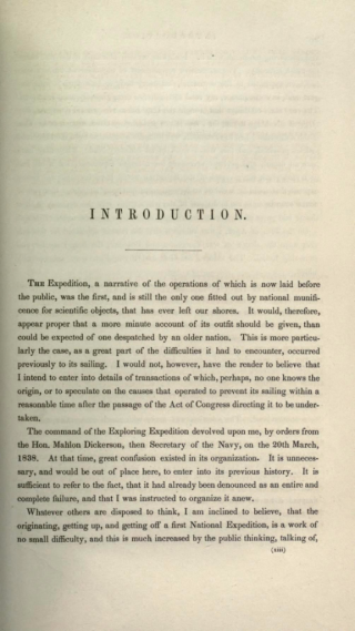 Wilkes, Charles. United States Exploring Expedition. During the year 1838, 1839, 1840, 1841, 1842. Vol. 1 (1845).
