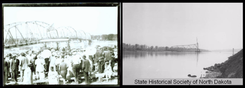 Four Bears Bridge at Elbowoods, North Dakota, at its dedication in 1934 (L) and its disassembly in 1953 (R)