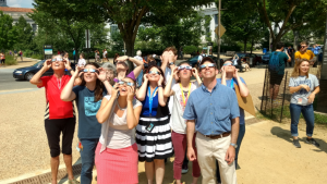 Intern Clara Cebral-Marani (third from the right) joins Botany staff to view the partial eclipse on the National Mall in Washington DC on August 21, 2017.