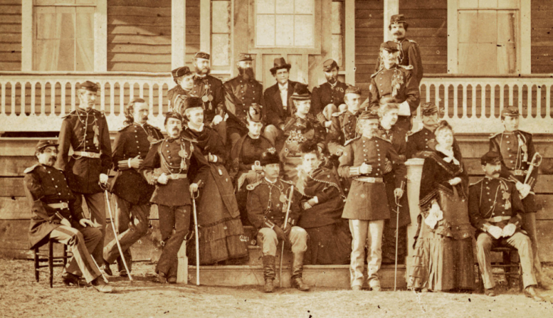 Officers and their wives at Fort Abraham Lincoln, 1876 or slightly earlier. Image Source: State Historical Society of North Dakota 0022-H-0034