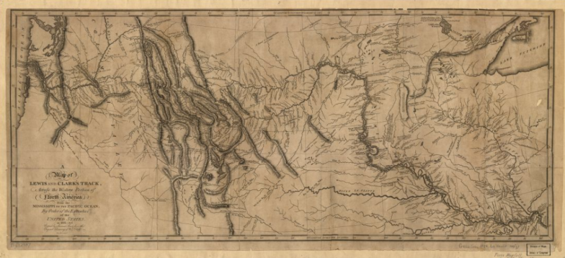 """A map of Lewis and Clark's track, across the western portion of North America from the Mississippi to the Pacific Ocean: by order of the executive of the United States in 1804, 5 & 6."" Image Source: Library of Congress G4126.S12 1814 .L4."