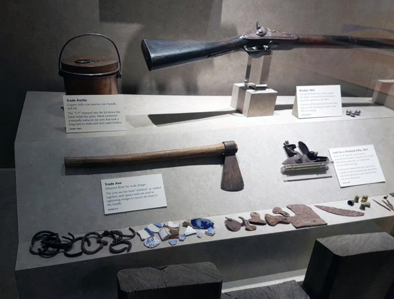 """Trade objects"" display at Lewis and Clark Interpretive Center (Photo Lotte Govaerts)"