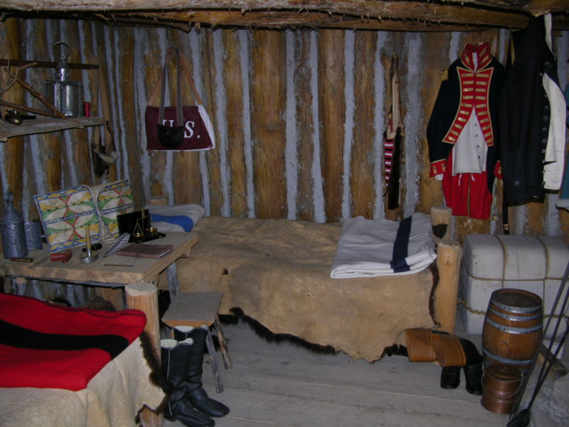 """A reconstruction of Lewis and Clark's room at Fort Mandan."" Image Source: Wikimedia Commons"