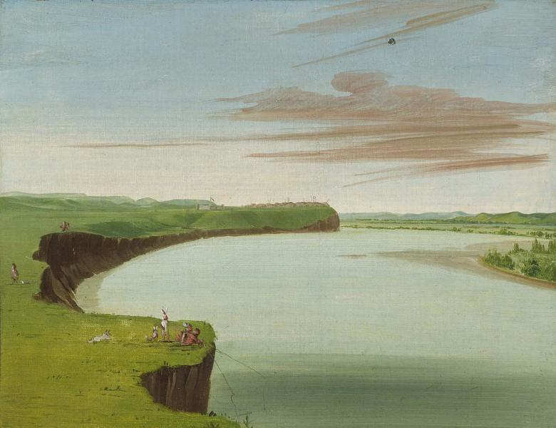 "George Catlin: ""Distant View of the Mandan Village,"" oil on canvas, 1832. Smithsonian American Art Museum, Gift of Mrs. Joseph Harrison, Jr., 1985.66.379 http://americanart.si.edu/collections/search/artwork/?id=4030. Fort Clark can be seen to the left of Mih-tutta-hang-kusch."
