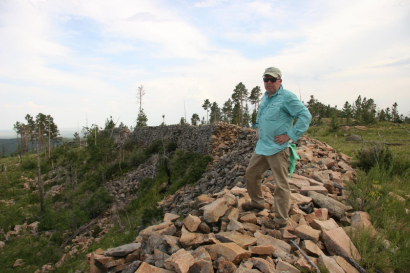 Dan Rogers in 2010 at the Uglugchiin Kherem site of the Khitan empire (photography by Altangerel Enkhtur).