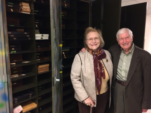 Memory Elvin-Lewis and Dr. Walter Lewis present three herbarium cases of Walter's lifelong work of systematic pollen slides.  (photo by Erika Gardner)