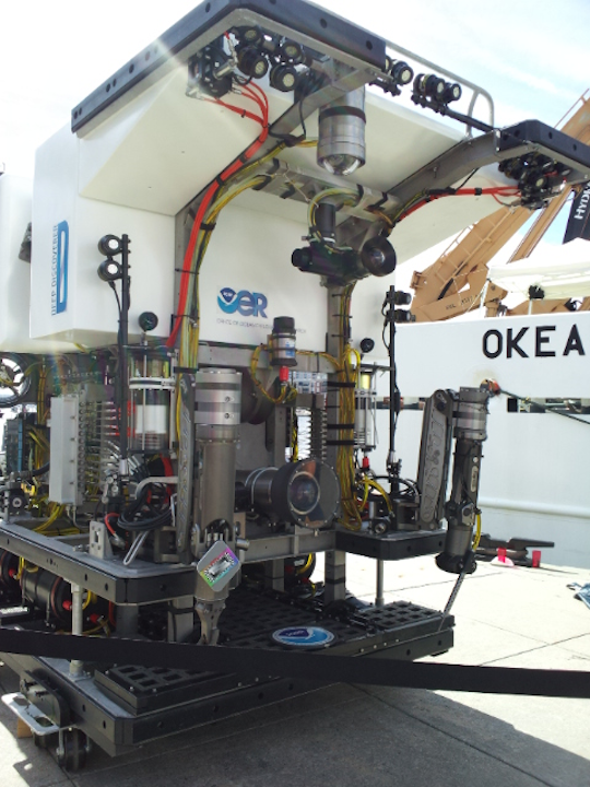 The Okeanos' Deep Discoverer ROV can dive to depths of 6,000 meters. The ROV's data feed is communicated to scientists to enable telepresence.