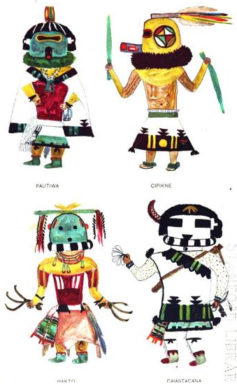 Drawings of Hopi Katcinas from Jesse Walter Fewke's book Hopi Katcinas Drawn by Native Artists (Credit: Google Books) [2].