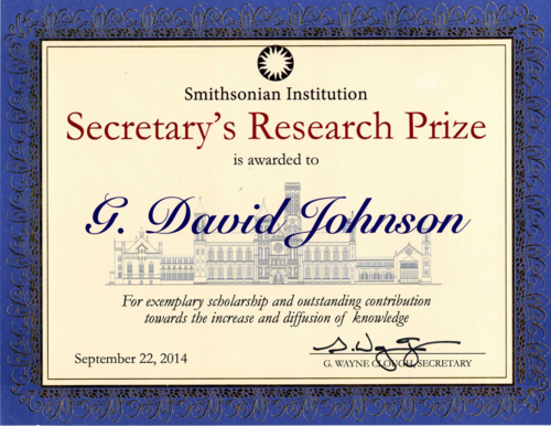 The Research Prize presented to Dave Johnson by Smithsonian Secretary Wayne G. Clough on September 22, 2014.