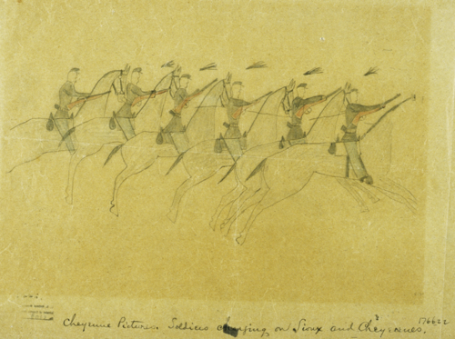 Ink on paper drawing of US cavalry charging