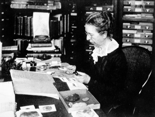 Mary Jane Rathbun working with specimens, c. 1930s, by Unknown (Smithsonian Institution Archives, SIA2009-0710 or 97-3497)