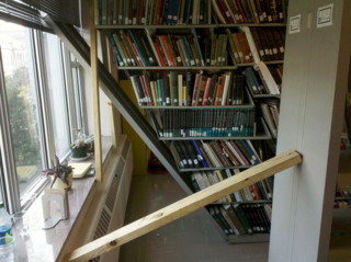 Damage inside the Botany-Horticulture Library after the 2011 Virginia earthquake. (Photo by Martin Kalfatovic)