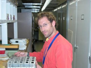 Mauricio Diazgranados C. in the US National herbarium (photo by Marjorie Knowles).