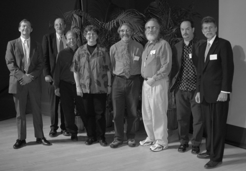 Speakers of the 2005 Smithsonian Botanical Symposium (from left): P. Bryan Heidorn, Scott Miller, David Jacobs, Vicki A. Funk, David F. Farr, Robert A. Morris, Vincent Savolainen, W. John Kress (Photo by Elaine Haug).