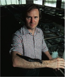Roy T. Sawyer, author of Leech Biology and Behaviour (1986; Clarendon Press) with a particularly large individual of Haementeria ghilianii on his arm