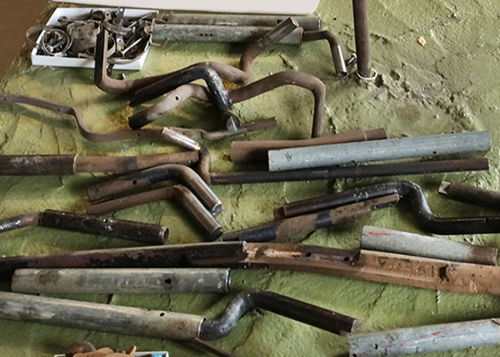 some of the metal pieces that made up the armature