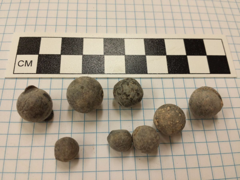 Lead balls from archaeological site 39ST202