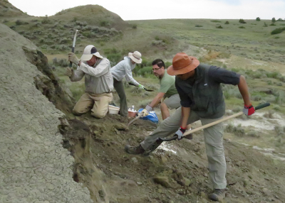 Digging into the hill using shovels and picks to remove overburden.