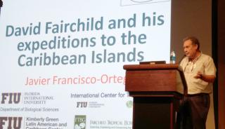 Javier Francisco-Ortega (Florida International University) discussing the Caribbean expeditions of David Fairchild. (photo by Gary Krupnick)