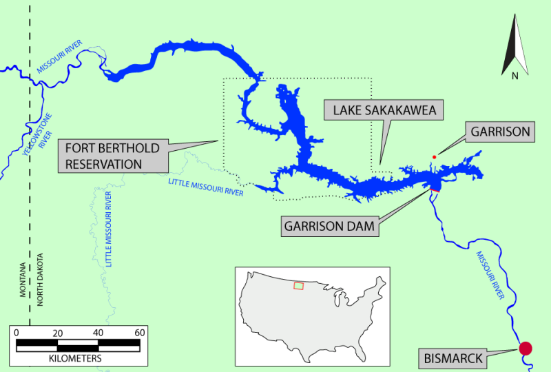 Map of the area surrounding Fort Berthold Reservation and Lake Sakakawea