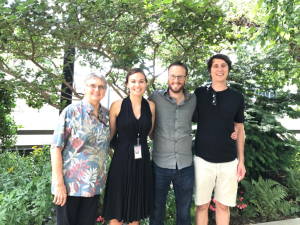 Elizabeth O'Brian (intern, second from left) and her advisors (L to R), Vicki Funk, Robert (Bort) Edwards, and Aleks Radosavljevic.