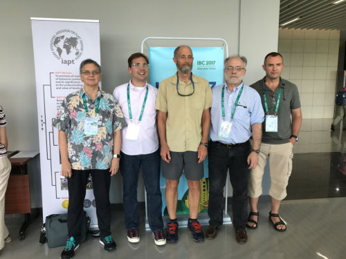Vicki Funk, Eric Schuettpelz, Paul Peterson, Laurence Dorr, and Konstantin Romaschenko attending the Nomenclature Section of the XIX IBC in Shenzhen, China. (photo by unknown passerby)